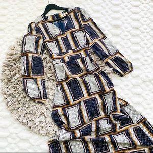 Skies are Blue Long Sleeve Tie Waist Maxi Dress
